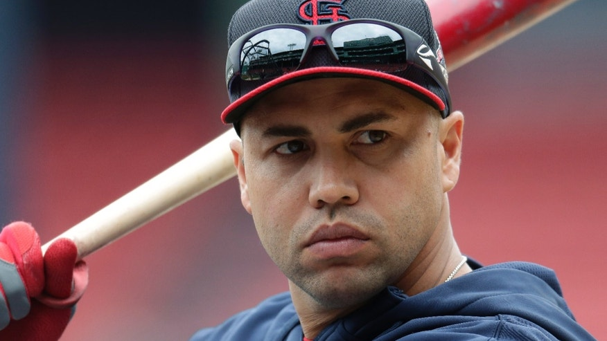 St. Louis Cardinals' Carlos Beltran waits to hit during batting practice Tuesday, Oct. 22, 2013, in Boston. The Cardinals are scheduled to play the Boston Reds Sox in Game 1 of baseball's World Series on Wednesday. (AP Photo/Charlie Riedel)