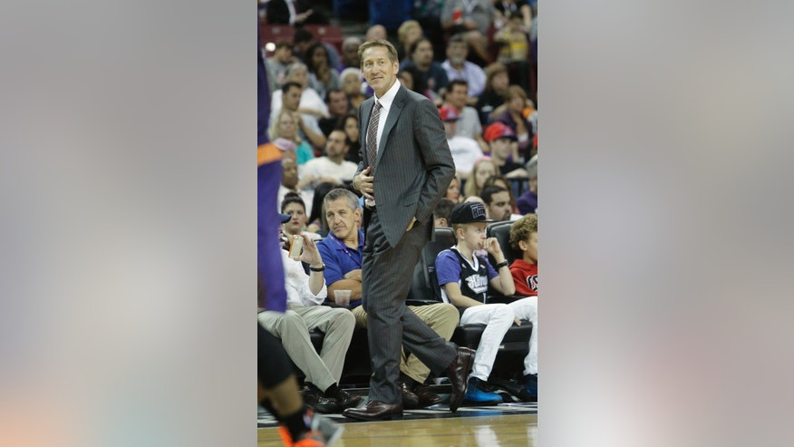 Phoenix Suns head coach Jeff Hornacek walks the sidelines during the third quarter of an NBA preseason basketball game against the Sacramento Kings in Sacramento, Calif., Thursday, Oct. 17, 2013.  The Kings won 107-90.(AP Photo/Rich Pedroncelli)