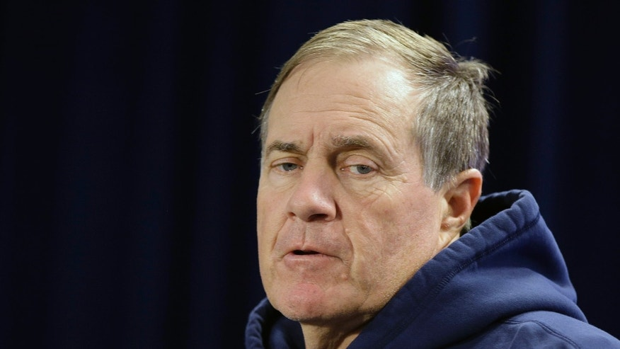 New England Patriots head coach Bill Belichick responds to a reporter's question during a media availability at the NFL football team's facility in  Foxborough, Mass., Wednesday, Oct. 23, 2013. The Patriots will play the Miami Dolphins Sunday. (AP Photo/Stephan Savoia)