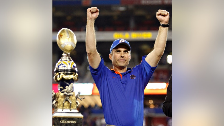 FILE - In this Jan. 4, 2010, file photo, Boise State coach Chris Petersen celebrates after Boise State beat TCU 17-10 in the Fiesta Bowl NCAA college football game in Glendale, Ariz. When he inherited the reigns from Dan Hawkins, who left for the head coaching job at Colorado, Boise State was considered a cute little program that played on a gaudy blue field and beat up teams in an inferior conference with a high octane offense. Few believed the team had the talent and toughness to match up teams from the powerhouse conferences back east. (AP Photo/Matt York, File)