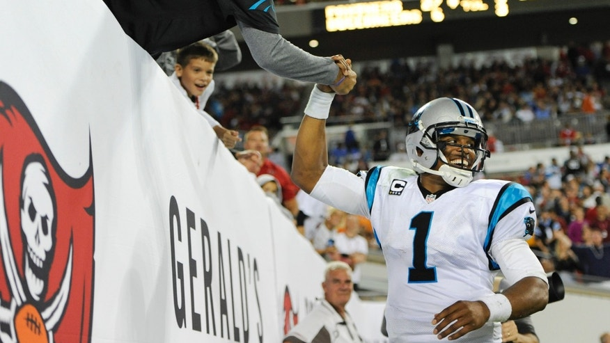 Carolina Panthers quarterback Cam Newton (1) shakes hands with a fan after Panthers fullback Mike Tolbert scored a touchdown against the Tampa Bay Buccaneers on a 3-yard pass from Newton during the second half of an NFL football game in Tampa, Fla., Thursday, Oct. 24, 2013. (AP Photo/Brian Blanco)
