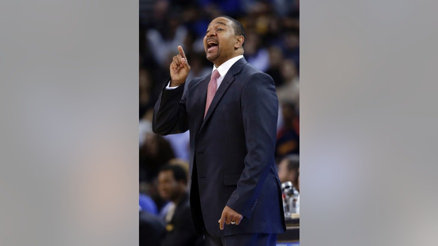 Golden State Warriors head coach Mark Jackson instructs his team against the Portland Trail Blazers during the first half of an NBA preseason basketball game on Thursday, Oct. 24, 2013, in Oakland, Calif. (AP Photo/Marcio Jose Sanchez)