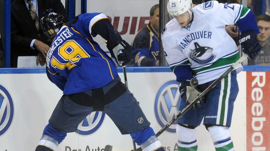 Vancouver Canucks' Mike Santorelli (25) and St. Louis Blues' Jay Bouwmeester (19) battle for the puck during the first period of an NHL hockey game on Friday, Oct. 25, 2013, in St. Louis. (AP Photo/Bill Boyce)