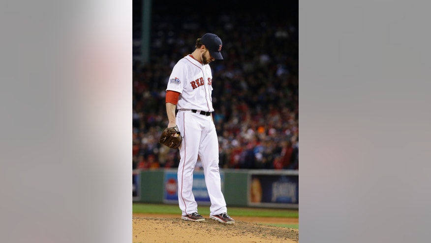 Boston Red Sox relief pitcher Craig Breslow waits to be taken out during the seventh inning of Game 2 of baseball's World Series against the St. Louis Cardinals Thursday, Oct. 24, 2013, in Boston. (AP Photo/Matt Slocum)
