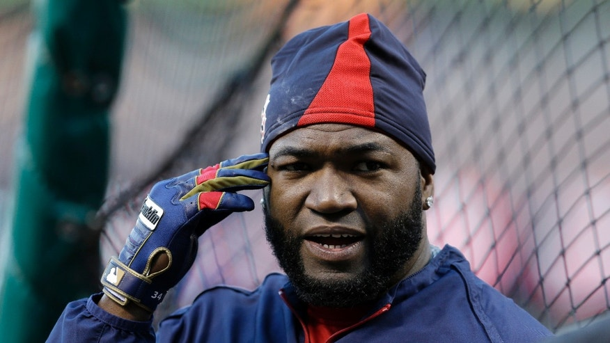 Boston Red Sox's David Ortiz prepares to take baseball batting practice Friday, Oct. 25, 2013, in St. Louis. The Red Sox and St. Louis Cardinals are set to play Game 3 of the World Series on Saturday in St. Louis. (AP Photo/Jeff Roberson)