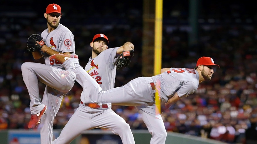 In this multiple exposure image, St. Louis Cardinals starting pitcher Michael Wacha throws during the fifth inning of Game 2 of baseball's World Series against the Boston Red Sox Thursday, Oct. 24, 2013, in Boston. (AP Photo/Matt Slocum)