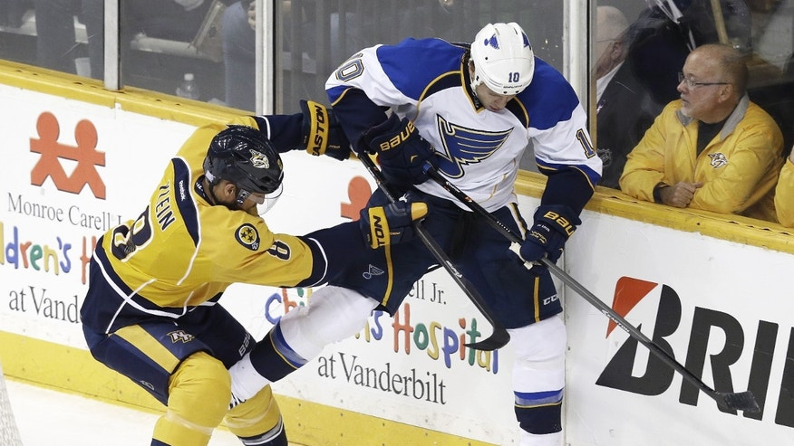 Nashville Predators defenseman Kevin Klein (8) checks St. Louis Blues left wing Brenden Morrow (10) in the second period of an NHL hockey game on Saturday, Oct. 26, 2013, in Nashville, Tenn. (AP Photo/Mark Humphrey)