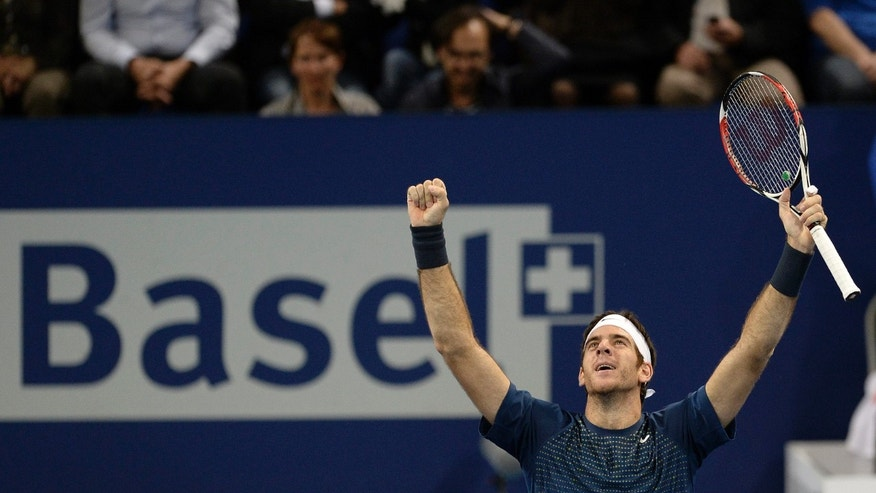 Argentina's Juan Martin Del Potro cheers after winning the final match against Switzerland's Roger Federer at the Swiss Indoors tennis tournament at the St. Jakobshalle in Basel, Switzerland, on Sunday, Oct. 27, 2013. (AP Photo/Keystone,Georgios Kefalas)