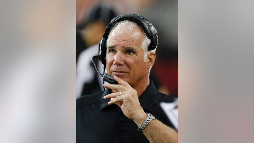 Atlanta Falcons head coach Mike Smith adjusts his headset during the second half of an NFL football game against the Arizona Cardinals on Sunday Oct. 27, 2013, in Glendale, Ariz. The Cardinals won 27-13. (AP Photo/Ross D. Franklin)