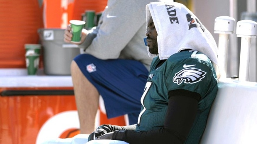 Oct. 27, 2013: The Philadelphia Eagles' Michael Vick sits on the bench during the first half of an NFL football game against the New York Giants in Philadelphia.