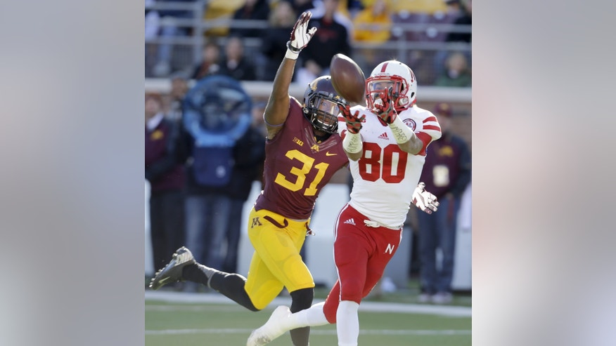 Nebraska wide receiver Kenny Bell (80) pulls in a pass from quarterback Taylor Martinez in front of Minnesota defensive back Eric Murray (31) for a 42-yard gain during the first quarter of an NCAA college football game in Minneapolis Saturday, Oct. 26, 2013. (AP Photo/Ann Heisenfelt)
