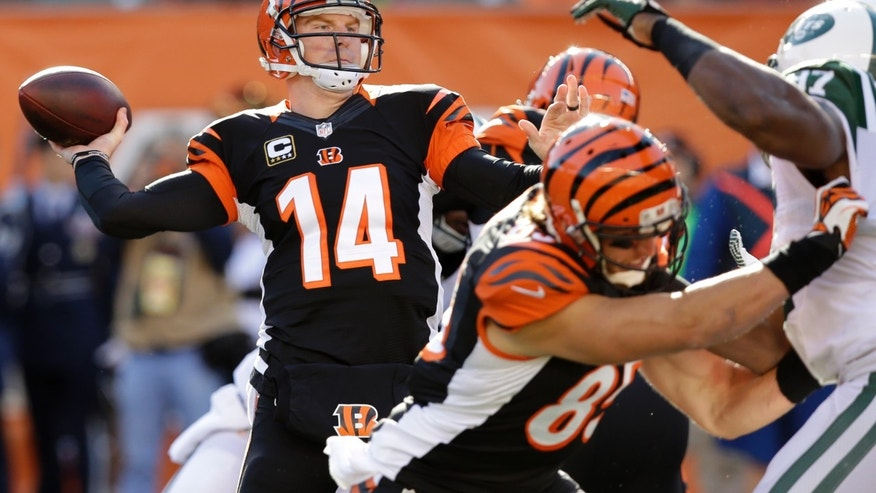 Cincinnati Bengals quarterback Andy Dalton (14) passes against the New York Jets in the first half of an NFL football game, Sunday, Oct. 27, 2013, in Cincinnati. (AP Photo/Al Behrman)