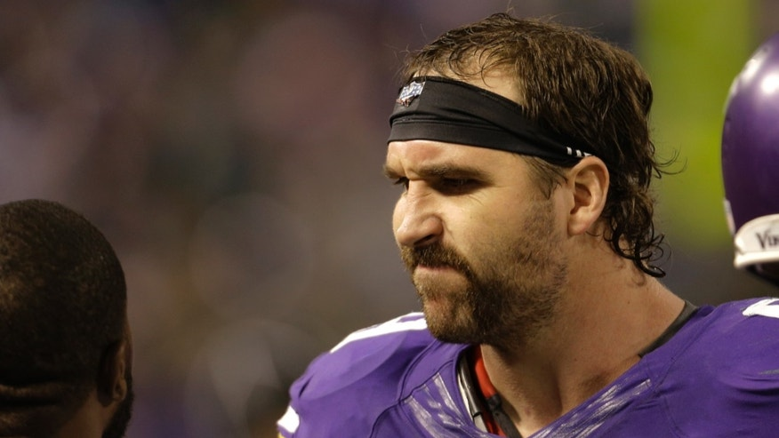 Minnesota Vikings defensive end Jared Allen (69) reacts on the sideline near the end of an NFL football game against the Green Bay Packers, Sunday, Oct. 27, 2013, in Minneapolis. The Packers won 44-31. (AP Photo/Ann Heisenfelt)