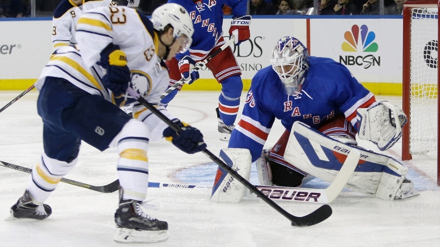 New York Rangers goalie Henrik Lundqvist, right, of Sweden, defends the goal from Buffalo Sabres' Tyler Ennis (63) during the first period of an NHL hockey game Thursday, Oct. 31, 2013, in New York. (AP Photo/Frank Franklin II)