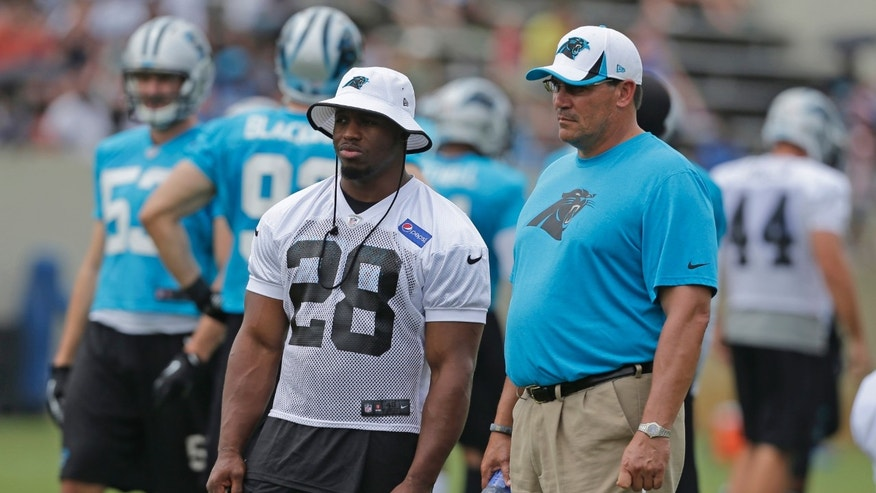 In this July 27, 2013 photo, Carolina Panthers head coach Ron Rivera, right, and running back Jonathan Stewart, left, looks on during an NFL football training camp practice in Spartanburg, S.C. The Panthers remain hopeful that Stewart, who has missed the first seven games of the season recovering from ankle surgery, will return to action this Sunday against Atlanta. (AP Photo/Chuck Burton)