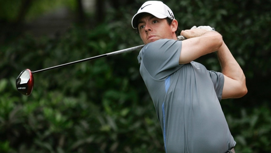 Rory McIlroy of Northern Ireland tees off the 5th hole during the Pro-Am event of the HSBC Champions golf tournament, which begins on Thursday, at the Sheshan International Golf Club in Shanghai, China, Wednesday, Oct. 30, 2013. (AP Photo)