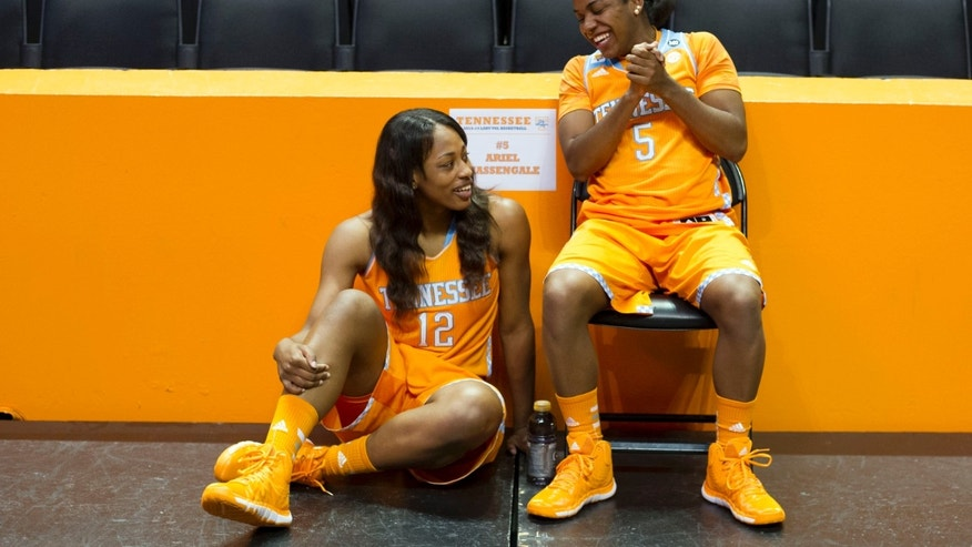 Tennessee's Bashaara Graves, left, and Ariel Massengale chat while waiting to be interviewed during NCAA college basketball media day Wednesday, Oct. 30, 2013, in Knoxville, Tenn. (AP Photo/The Knoxville News Sentinel, Saul Young)
