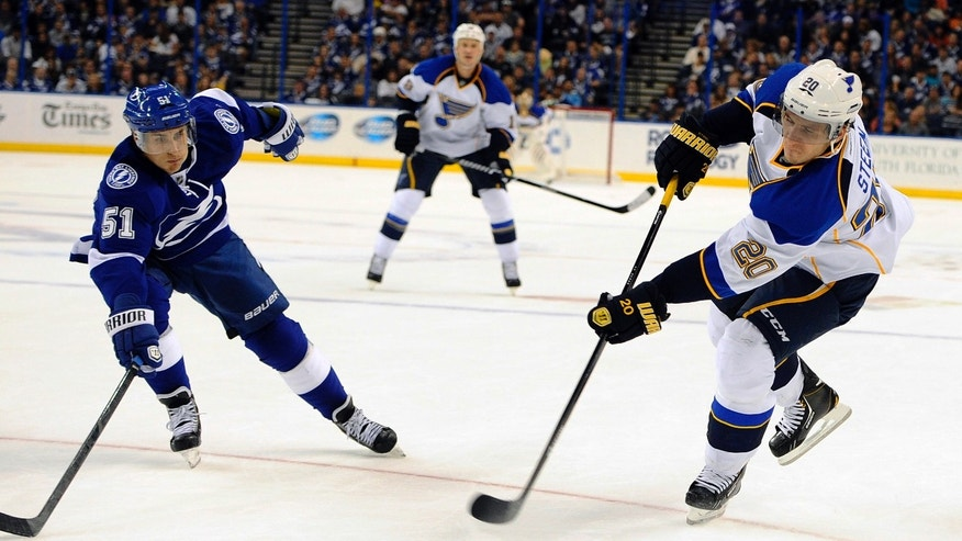 St. Louis Blues left wing Alexander Steen, right, takes a shot against Tampa Bay Lightning center Valtteri Filppula, of Finland, during the first period of an NHL hockey game Saturday, Nov. 2, 2013, in Tampa, Fla. (AP Photo/Brian Blanco)
