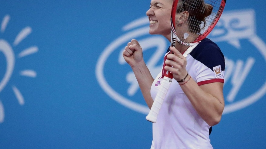 Simona Halep of Romania reacts after defeating Ana Ivanovic of Serbia, during their semi-final tennis match of the WTA Tournament of the Champions in Sofia, Bulgaria,  Saturday, Nov. 2, 2013. (AP Photo/ Valentina Petrova)