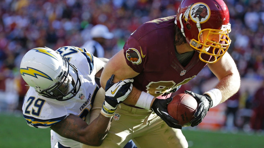 Washington Redskins tight end Logan Paulsen is wrapped up by San Diego Chargers cornerback Shareece Wright during the second half of a NFL football game in Landover, Md., Sunday, Nov. 3, 2013. (AP Photo/Alex Brandon)