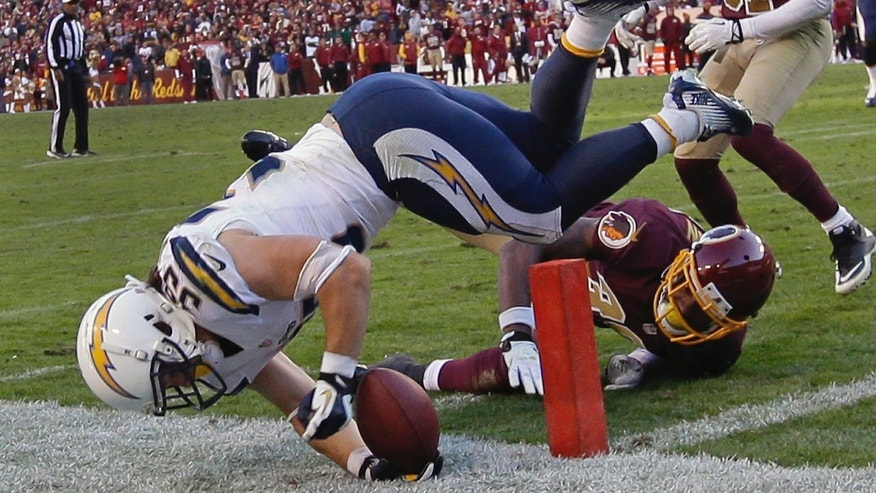 San Diego Chargers running back Danny Woodhead dives over Washington Redskins free safety David Amerson and lands short of the touchdown during the second half of a NFL football game in Landover, Md., Sunday, Nov. 3, 2013. Washington defeated San Diego 30-24 in overtime. (AP Photo/Alex Brandon)