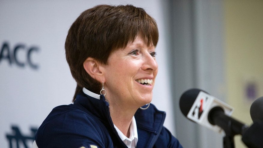 FILE - In this Oct. 8, 2013 file photo, Notre Dame women's basketball coach Muffet McGraw speaks during the Atlantic Coast Conference NCAA college basketball media day in South Bend, Ind. Notre Dame has been to three straight Final Fours as it enters the Atlantic Coast Conference. The Fighting Irish are determined to start their ACC tenure by dethroning Duke, who has won three of the past four league titles.(AP Photo/South Bend Tribune, James Brosher, File)