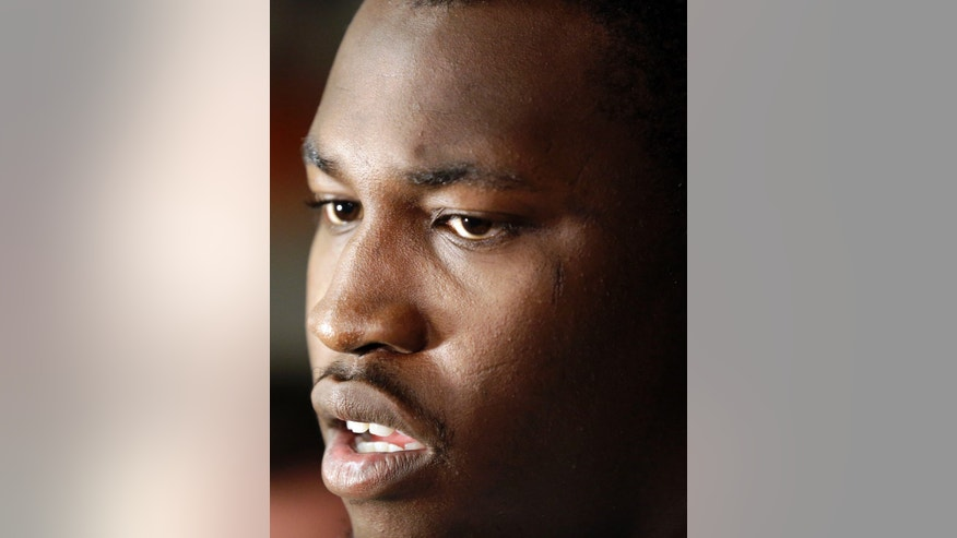 San Francisco 49ers linebacker Aldon Smith fields questions in the team's NFL football practice facility on Tuesday, Nov. 5, 2013, in Santa Clara, Calif. Smith missed the past five games while undergoing treatment for substance abuse. (AP Photo/Marcio Jose Sanchez)