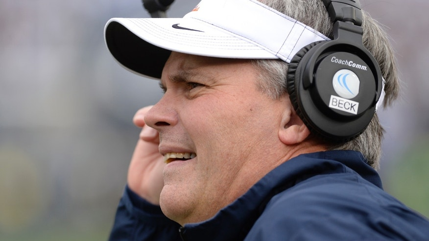 Illinois head coach Tim Beckman directs his team during an NCAA college football game against Penn State in State College, Pa., Saturday, Nov 2, 2013. Penn State defeated Illinois 24-17. (AP Photo/John Beale)