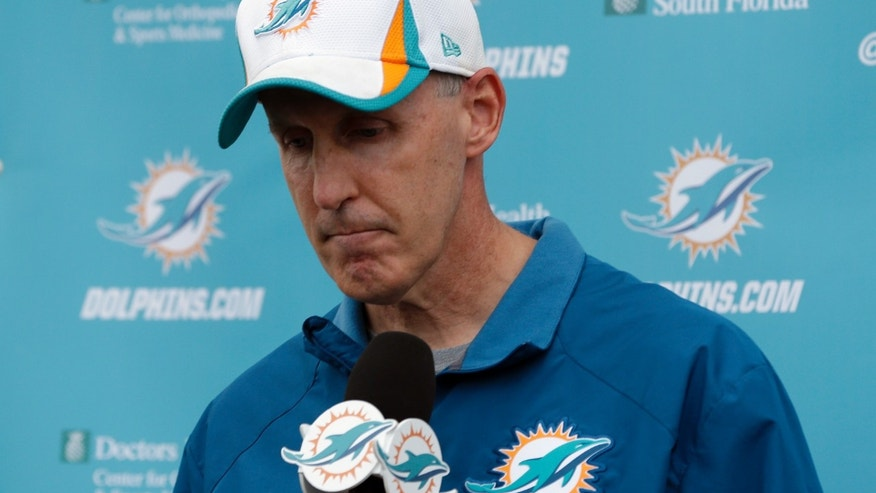 Miami Dolphins head coach Joe Philbin looks down during a media availability following an NFL football practice, Monday, Nov. 4, 2013, in Davie, Fla. The Dolphins suspended guard Richie Incognito Sunday for misconduct related to the treatment of teammate Jonathan Martin, who abruptly left the team a week ago to receive help for emotional issues. (AP Photo/Lynne Sladky)