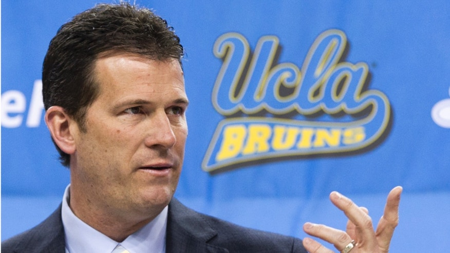 FILE - In this April 2, 2013 file photo, UCLA men's basketball coach Steve Alford speaks during a news conference at Pauley Pavilion in Los Angeles. The Indiana native who played on a national championship team for Bobby Knight in 1987 is now part of the Hollywood scene. (AP Photo/Damian Dovarganes, File)