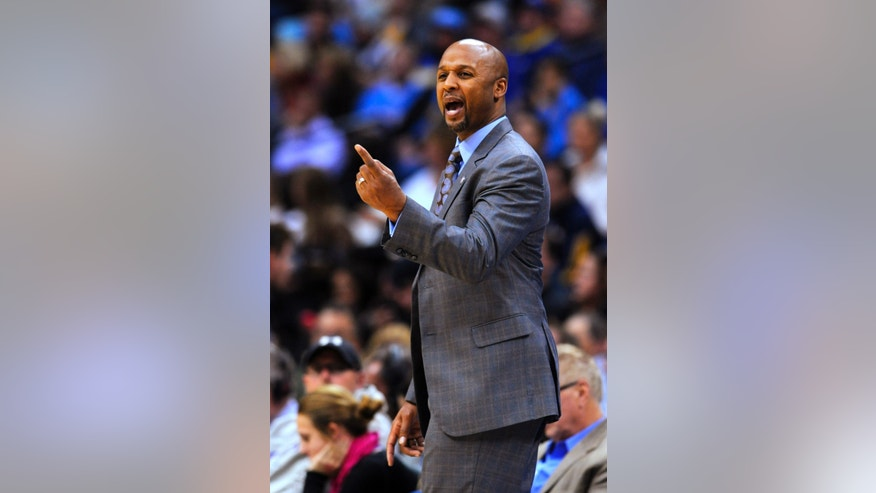 Denver Nuggets coach Brian Shaw gestures during the first quarter of the Nuggerts' NBA basketball game against the Atlanta Hawks on Thursday, Nov. 7, 2013, in Denver. (AP Photo/Jack Dempsey)