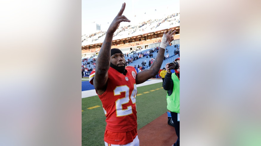 Kansas City Chiefs cornerback Brandon Flowers (24) celebrates with fans after a 23-13 win over the Buffalo Bills in an NFL football game in Orchard Park, N.Y., Sunday, Nov. 3, 2013. (AP Photo/Bill Wippert)