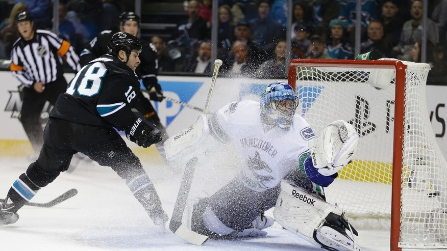San Jose Sharks' Mike Brown (18) scores against Vancouver Canucks goalie Roberto Luongo, right, during the first period of an NHL hockey game on Thursday, Nov. 7, 2013, in San Jose, Calif. (AP Photo/Ben Margot)