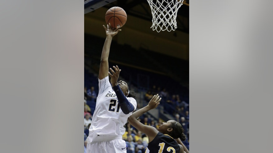 California's Reshanda Gray, left, shoots over Long Beach State's Jewelyn Sawyer in the first half of an NCAA college basketball game Friday, Nov. 8, 2013, in Berkeley, Calif. (AP Photo/Ben Margot)