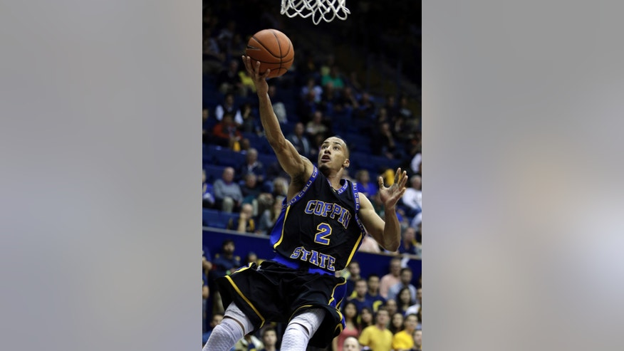 Coppin State's Sterling Smith lays up a shot against California in the first half of an NCAA college basketball game Friday, Nov. 8, 2013, in Berkeley, Calif. (AP Photo/Ben Margot)