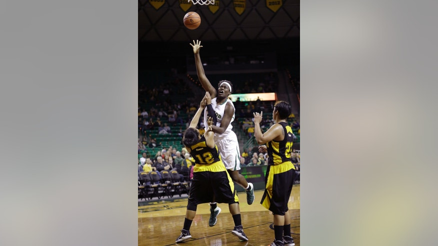 Baylor forward Sune Agbuke (22) shoots over Grambling State forward Jordan Mitchell-Harmel (12) as guard Joanna Miller (23) watches during the first half of an NCAA college basketball game Saturday, Nov. 9, 2013, in Waco, Texas. (AP Photo/LM Otero)