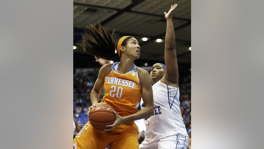 Tennessee center Isabelle Harrison (20) drives against Middle Tennessee center KeKe Stewart, right, in the second half of an NCAA college basketball game on Friday, Nov. 8, 2013, in Murfreesboro, Tenn. Harrison led Tennessee with 13 points as they won 67-57. (AP Photo/Mark Humphrey)
