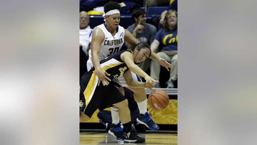Long Beach State's Anna Kim drives the ball against California's Mikayla Lyles (30) in the first half of an NCAA college basketball game Friday, Nov. 8, 2013, in Berkeley, Calif. (AP Photo/Ben Margot)