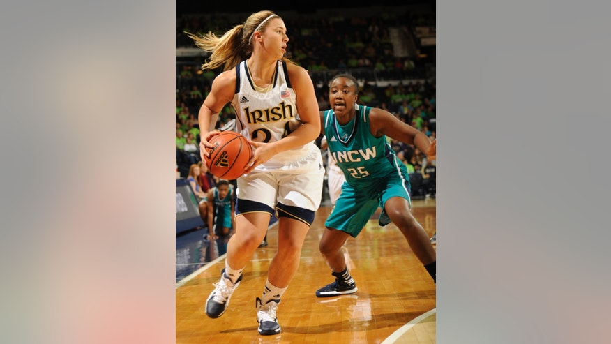 Notre Dame guard Hannah Huffman gets ready to pass as UNC-Wilmington D'Asia Cain defends during the first half of an NCAA college basketball game, Saturday, Nov. 9, 2013, in South Bend, Ind. (AP Photo/Joe Raymond)