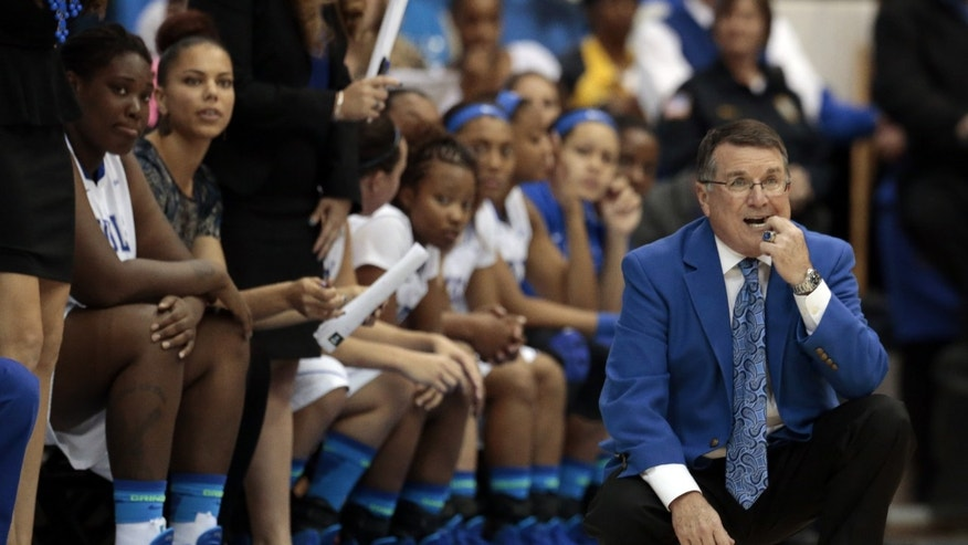 Middle Tennessee head coach Rick Insell, right, watches his team play Tennessee in the second half of an NCAA college basketball game on Friday, Nov. 8, 2013, in Murfreesboro, Tenn. Tennessee won 67-57. (AP Photo/Mark Humphrey)