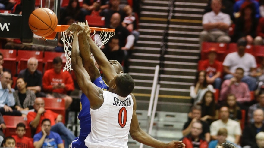 UC Riverside 's Taylor Johns blocks the dunk attempt of San Diego State's Skylar Spencer during the first half of an NCAA college basketball, game Friday, Nov. 8, 2013, in San Diego. (AP Photo/Lenny Ignelzi)
