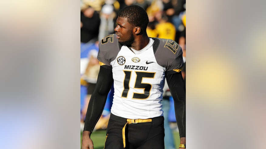 Missouri wide receiver Dorial Green-Beckham (15) walks off the field after an NCAA college football game, Saturday, Nov. 9, 2013, in Lexington, Ky. Green-Beckham had four receptions for touchdowns in Missouri's 48-17 win. (AP Photo/James Crisp)