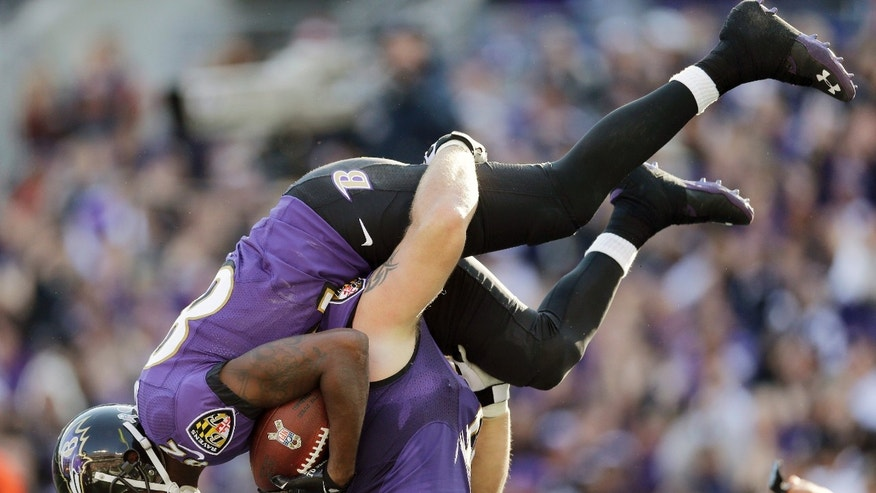 Baltimore Ravens guard Marshal Yanda picks up wide receiver Torrey Smith after Smith pulls in a touchdown pass during the first half of a NFL football game against the Cincinnati Bengals in Baltimore, Sunday, Nov. 10, 2013. (AP Photo/Patrick Semansky)