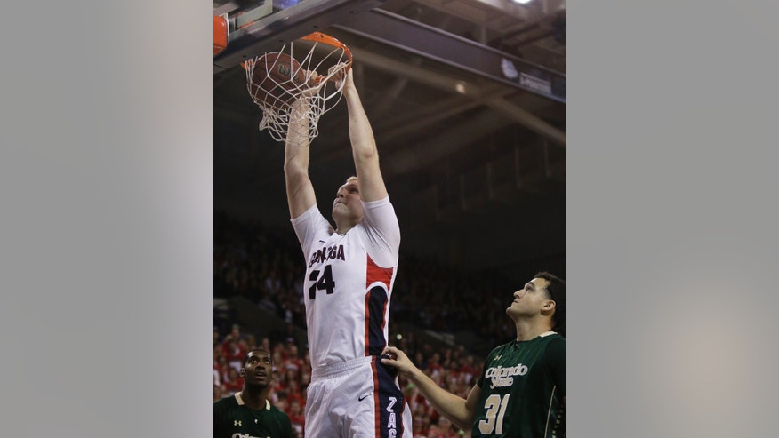 Gonzaga's Przemek Karnowski (24) dunks during the first half of an NCAA college basketball game against Colorado State, in Spokane, Wash., on Monday, Nov. 11, 2013. (AP Photo/Young Kwak)