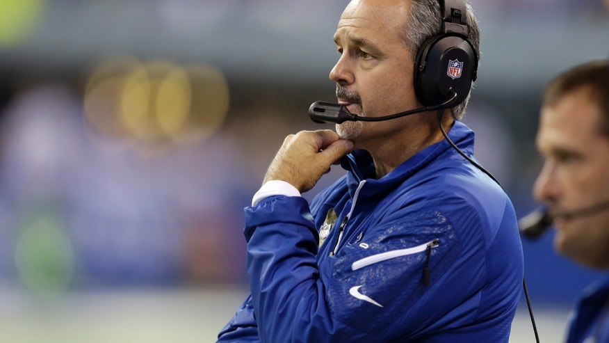 Indianapolis Colts head coach Chuck Pagano looks on during the first half of an NFL football game against the St. Louis Rams in Indianapolis, Sunday, Nov. 10, 2013. (AP Photo/Darron Cummings)