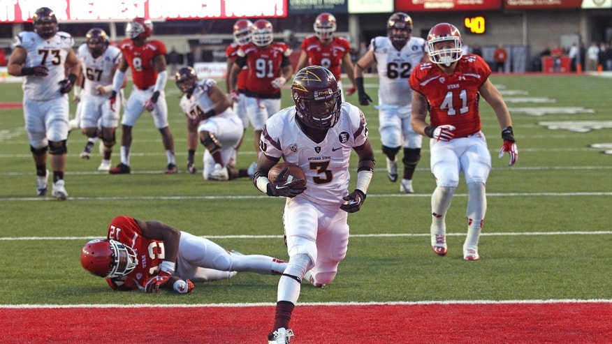 Arizona State wide receiver Richard Smith (3) scores as Utah defensive back Justin Thomas falls during the fourth quarter of an NCAA college football game Saturday, Nov. 9, 2013, in Salt Lake City. Arizona State won 20-19. (AP Photo/Rick Bowmer)