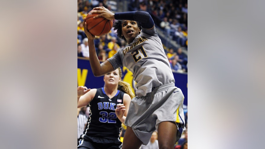 California's Reshanda Gray (21) rebounds in front of Duke's Tricia Liston during the second half of an NCAA college basketball game, Sunday, Nov. 10, 2013 in Berkeley, Calif. (AP Photo/George Nikitin)