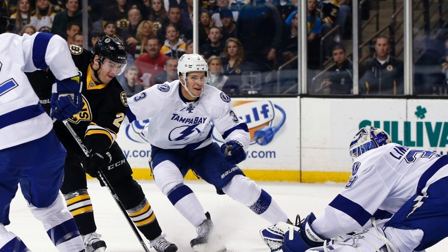 Boston Bruins left wing Daniel Paille (20) shoots and scores past Tampa Bay Lightning goalie Anders Lindback as defenseman Keith Aulie (3) watches during the second period of an NHL hockey game in Boston Monday, Nov. 11, 2013. (AP Photo/Elise Amendola)