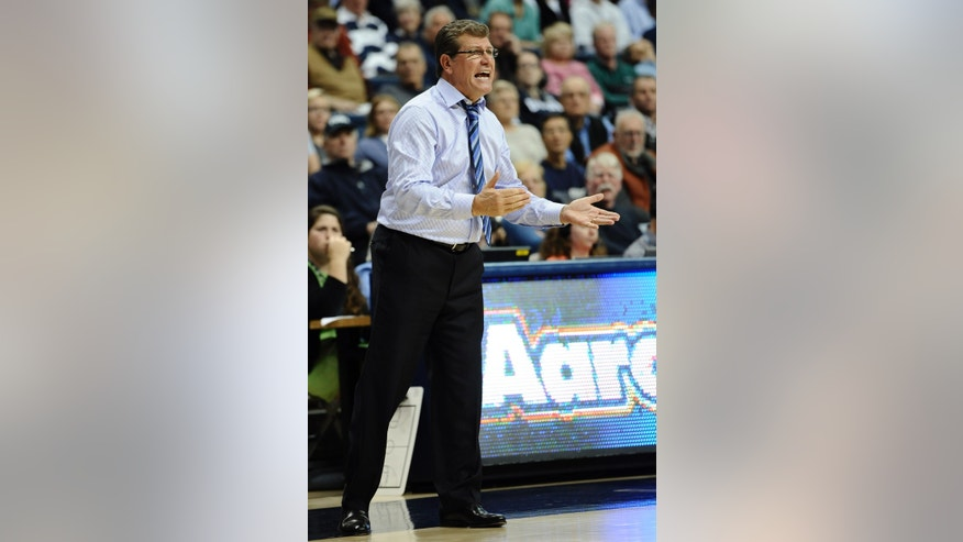 Connecticut head coach Geno Auriemma reacts during the second half of an NCAA college basketball game against Stanford, Monday, Nov. 11, 2013, in Storrs, Conn. Connecticut won 76-57. (AP Photo/Jessica Hill)