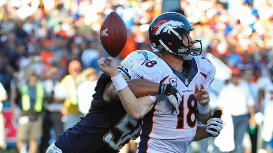 Denver Broncos quarterback Peyton Manning fumbles as he is hit by San Diego Chargers outside linebacker Tourek Williams during the third quarter of a NFL football game Sunday, Nov. 10, 2013, in San Diego. The Chargers recovered the fumble and scored a touchdown a few plays later. (AP Photo/Denis Poroy)